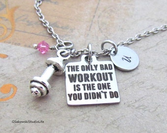 The only bad workout is the one you didn't do Barbell Charm Personalized Hand Stamped Initial Birthstone Antique Silver Workout Necklace