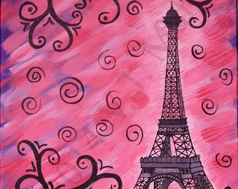 Eiffel Tower, Paris architecture,Eiffel painting,Paris room decor,Eiffel wall decor,Eiffel decoration,Eiffel wall art,Paris art, Item #EPP-2