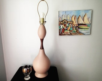 Table Lamp Mid Century Chillo Double Tear Drop Textured Pink Beige Mat