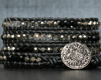 wrap bracelet- ombre crystals on pewter leather- black, clear, silver, grey, gray