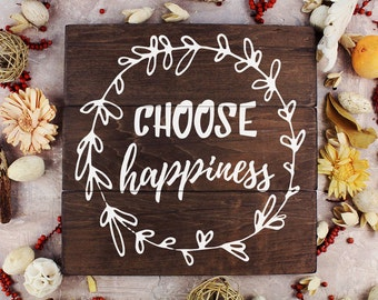 Choose Happiness positive words wall décor happiness quote Inspirational wall quotes Wall Art