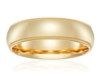 14Kt Yellow Gold Milgrain Wedding Band 6mm