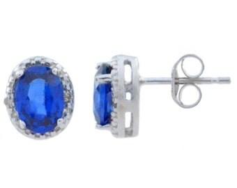 Blue Sapphire & Diamond Oval Stud Earrings .925 Sterling Silver