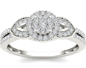 10Kt White Gold Diamond Engagement 0.41 Ct Ring