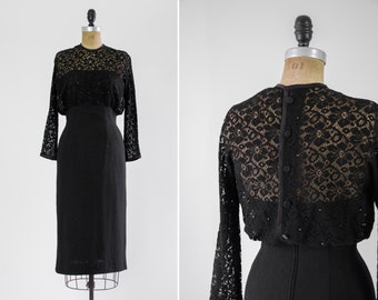 vintage 1950s black lace wiggle dress | 50s cocktail party dress with lace sleeves