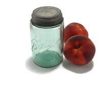 Antique Ball Mason Pint Jar with Zinc and Porcelain Screw Cap