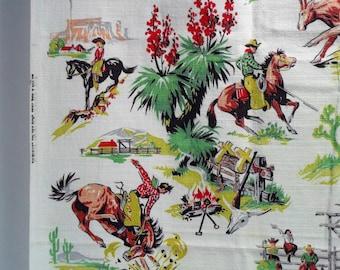 Vintage Cotton Barkcloth Fabric * Western Cowboy Cowgirl * Medium Weight Drapery Yardage