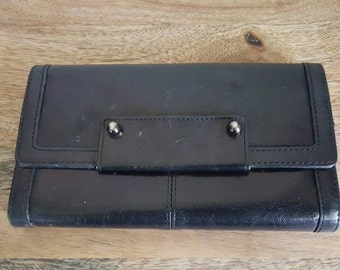 Kenneth Cole Black Leather Checkbook Wallet
