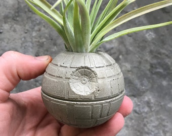 Small Death Star Concrete Planter - Single Planter - Includes Air PLant - Star Wars - Office Decor