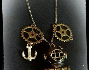 Steam punk Navy scuba diver and gears necklace