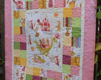 Custom Princess and Dragon Baby Girl Quilt with Stuffed Dragon Toy // Baby Gift // Gift for Babies// Baby Shower Gift // Toddler Quilt