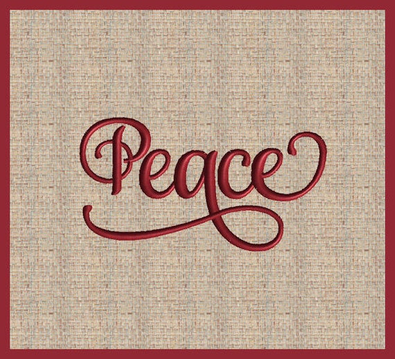 Word peace machine embroidery design christmas