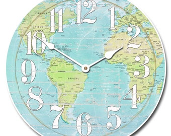 Shabby Chic Map Wall Clock