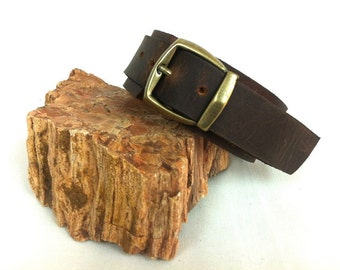 "Beautifully Handcrafted Brown Leather Bracelet For Men. Thick Leather. Bronze Buckle. 3 cm/ 1.2"" Inch Wide. One Of A Kind. A Gift For Him."