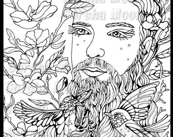Bearded Man Coloring Page for Adults