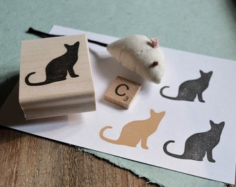 Silhouette Cat Rubber Stamp, Hand Carved Stamp, Cute Cat Stamp, Cat Rubber Stamp, Cat Lady, Kitty Stamp,Cat Lovers Gift,Cat Appreciation 008