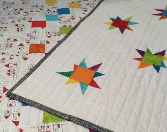 Modern Patchwork Quilt-Handmade Quilt-Stars Quilt-Baby Quilt-Nursery Bedding
