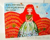 Sympathy card Thinking of you If you ever need me I will be just around the corner Encouragement Whimsical Greeting Card Inspirational card.