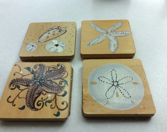 Set of Four Coasters - wood with cork on bottom