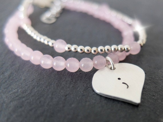Semicolon Bracelet, Semi Colon Bracelet, Surviving Depression Bracelet, Survivor Bracelet, Silver and Rose Quartz Semicolon Bracelet