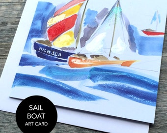 Sail Boat Bird Art Card (Greeting Card)