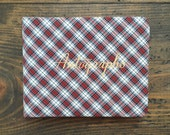 vintage unused autograph book •  National Blank Book Co. • red plaid • in original box