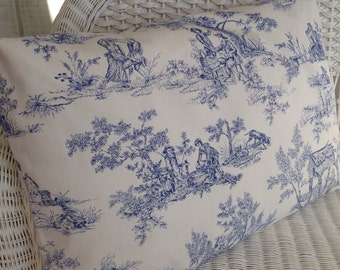 Toile pillow cover or sham, blue, tan, green / French country, pastoral, cottage, farmhouse, country, colonial