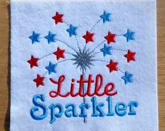 Little sparkler embroidery design, 3 size filled stitch 4th of July machine embroidery, holiday, summer, patriotic embroidery design