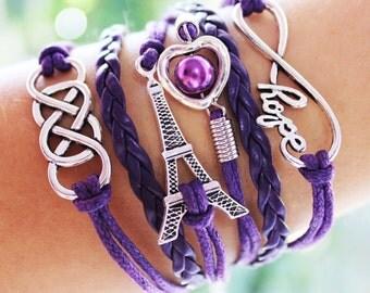 Purple Eiffel Tower Friendship Charm Bracelet Leather Infinity Handmade