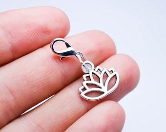 Lotus Flower Charm - Namaste Charm - Yoga Lotus Charm - Bangle Charms -SCC577