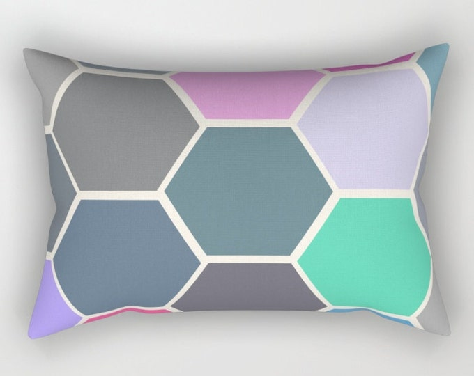 Multi Color Rectangular Bed Pillow Cover Includes Pillow Insert - Colorful Hexagon Art Lumbar Pillow - Bedroom Decor  - Made to Order