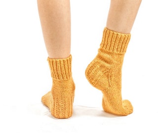"""MEN WOOL SOCKS """"Touring back roads"""".  Hand knitted from natural yellow color sheep wool yarn. Great for hiking"""