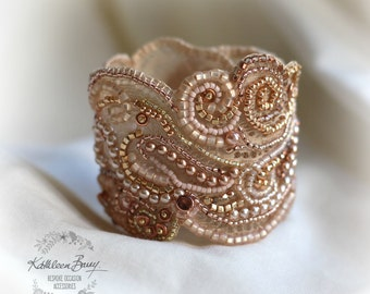 Rose gold lace cuff bracelet - pearl crystal bead embellished- wedding cuff - bridal accessories - rose gold and blush pink tones - copper