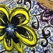 African Wax Print Fabric--Graphic Wax Print Fabric--Purple, Periwinkle Blue, and Yellow Giant Floral Print--African Fabric by the HALF YARD