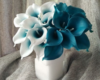 VANRINA Oasis Teal Wedding Flowers Teal Blue Calla Lilies 10 stem Real Touch Calla Lily Bouquet Wedding Centerpieces Decorations MTL-FLN003