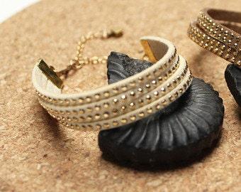 Multi- Strand Bracelets in White Studded Suede