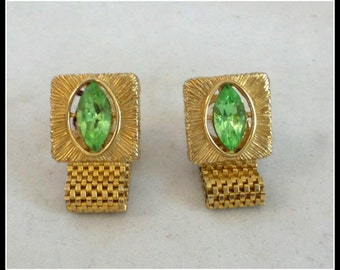 Vintage Green Glass Cuff Links
