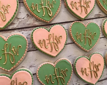 Peach and Sage monogram heart cookies