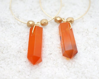 NATURAL Genuine Carnelian Crystal Point Mini Hoops & Golden Beads, Modern Everyday Simple Boho Gypsy Gift For Her, Earrings