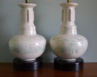 Large Mid Century Ceramic Lamp Pair