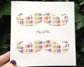 ON SALE Mr & Mr Engagement / Wedding Congratulations Gay Handmade Greeting Card Irish Moustache Design