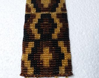 Huichol Indian Hand Beaded Bracelet Black Gold Copper Mexican Folk Art