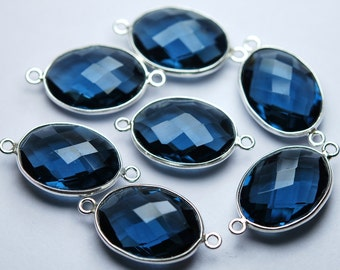 925 Sterling Silver,LONDON Blue Quartz Faceted Oval Shape,Connector,5 Piece of 25mm approx