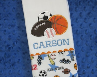 Personalized Baby Boy Burp Cloth with Sports Theme