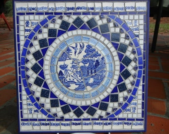Blue willow mosaic medallion