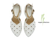 White Vegan handmade flat Sandals / Sophie super comfertable  Vegan sandals  by Tamar Shalem