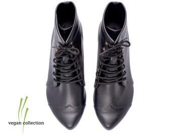 handmade Vegan black flat Boots boots / Vegan High Polly-Jean black Boots by Tamar Shalem