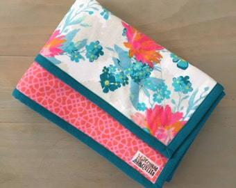 Floral Flannel Baby Girl Blanket, Turquoise, Bright Pink and Orange, Mod, Bold, 32 x 40, Handmade, Made to order