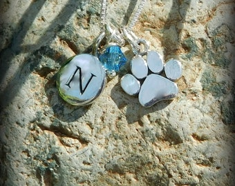 Sterling silver paw print necklace, animal lovers necklace, personalized jewelry