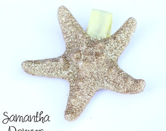 Gold Glitter Starfish Hair Clip